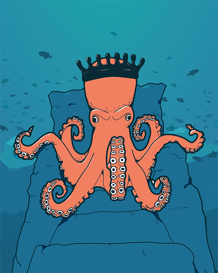 Illustration of an octopus on a rock throne wearing a crown